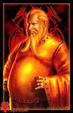 Illyrio Mopatis - É um rico e poderoso Magíster da Cidade Livre de Pentos. É um mercador de temperos, pedras preciosas, ossos de dragão, entre outros produtos. Possui obesidade mórbida, com cabelo amarelo e uma barba bifurcada. Foi, por um tempo, guardião dos Targaryen exilados, e agora busca ajudá-los a recuperar Trono de Ferro.