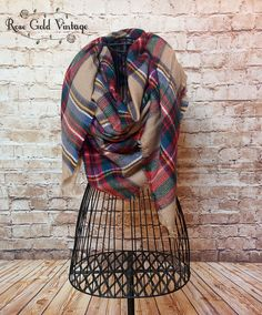 Oversized Perfect Plaid Blanket Scarf - Beige – Rose Gold Vintage