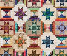 How to use every piece of your fabric for a scrap quilt - Ohio Star and Courthouse Steps quilt detail