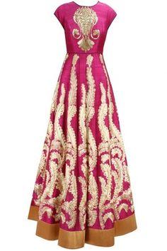 Indian Wedding Suits - Hot Pink Anarkali | WedMeGood Hot Pink floor length mega sleeves anarkali suit with cream zari embroidery and gold zari embroidery on blouse, god gota border  #wedmegood #pink #anarkali #zari #gota