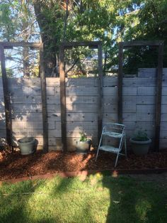 DIY hop trellis from reclaimed fence pieces