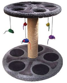"""Movie Reel Cat Perch  At 24"""" tall, this unique cat perch is a must-have for any film enthusiast. Both levels of the perch are inlaid with designs to create the look of a film reel. Holes in the upper level allow cats to reach through to grab at the toys. The unit comes with 5 hanging cat toys.  - Dimensions 24""""Hx26""""Wx26""""D  - Weight 65lbs  - Material Plywood, Solid Pine (Posts), 100% Nylon Carpet"""
