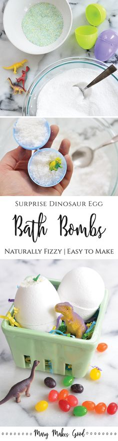 Dinosaur Egg Bath Bombs | An easy fizzing bath bomb recipe with a surprise treat packed inside! Perfect for party favors, easter baskets, or everyday bath time fun.