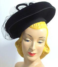 Spiderweb Veil Topped Tiered Black Tilt Hat, circa 1940s, via Dorothea's Closet Vintage.