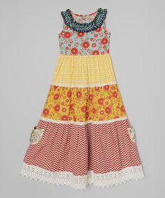 Look what I found on #zulily! Crimson & Mustard Jolie Maxi Dress - Toddler & Girls #zulilyfinds
