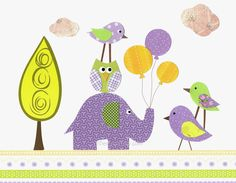 Nursery Art, Kids Wall Art, Children's Room Decor, Purple, Lavender, Green, Elephant, Birds, Colorful Balloons 8x10 Print. $14.00, via Etsy.