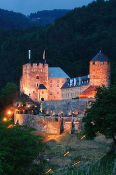Castle Deutschlandsberg in southern Styria, Austria is home to a splendid 4 star castle hotel with romantic rooms, toque-awarded gourmet-restaurant and spa facilities Hotel Austria, Romantic Room, Hotels, Heart Of Europe, Restaurant, 12th Century, Alps, Villa, Mansions