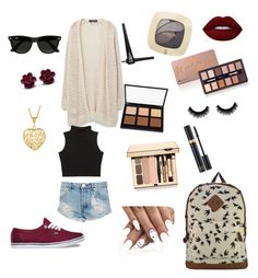 """""""Spring break!!"""" by cass-schafer on Polyvore featuring Vans, Ray-Ban, Lime Crime, L'Oréal Paris, ZuZu Luxe, Anastasia Beverly Hills, Clarins, Tom Ford, Violeta by Mango and One Teaspoon"""