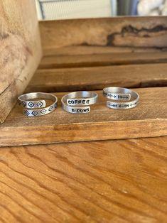 Metal Stamped Bracelet, Stamped Jewelry, Metal Jewelry, Jewlery, Ring Crafts, Western Jewelry, Thumb Rings, Boho Rings, Metal Stamping