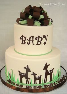 Think that this the perfect baby shower cake, it is so cute and perfect for a girl or boy! I absolutely love this cake! Just needs a little deer with a pink bow that's a little bigger than baby deer to represent big sister.....