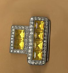 vintage buckle antique jewel buckle amber yellow slide buckle medium size buckle with maximum sparkle by beadtopiavintage on Etsy