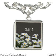 Daisies on Grey Personalised Charm Bracelets