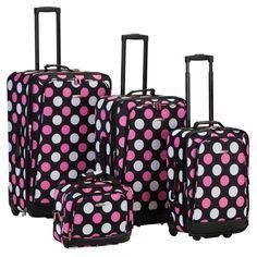 Rockland Luggage F106 4 Piece Luggage Set Multicolor Pink Dot -  F106-MULPINKDOT Log 17cfbc973afd2