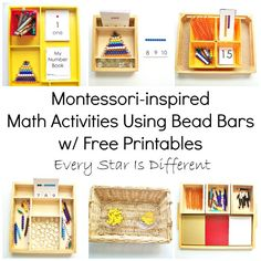 Every Star Is Different: Montessori-inspired Math Activities Using Bead Bars w/ Free Printables Montessori Practical Life, Montessori Homeschool, Montessori Elementary, Montessori Classroom, Montessori Toddler, Montessori Activities, Counting Activities, Homeschooling, Montessori Bedroom