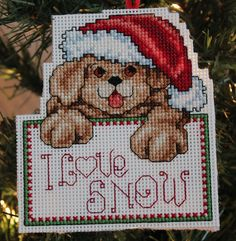 Cross Stitch Christmas Ornament  I Love Snow by IttyBrittyNeedle AWEE I wanna get this for my dad