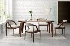 $167/set Curved for comfort, this gorgeous dining chair will refresh your kitchen or dining room with a light open-air design. Its modern form, with beautifully sloped arms, is upholstered in soft linen and supported by a solid wood frame. Cushioned back and seat will keep you at the table for hours at a time.