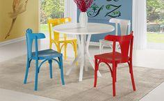 mesa de jantar branca e cadeiras coloridas - Pesquisa Google