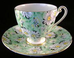 Shelley Cup and Saucer Green Daisy Chintz Ripon Shape England Teacups