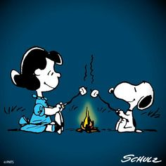 'Roasting Marshmallows and Camping', Snoopy and Lucy Van Pelt. Lucy Van Pelt, Snoopy Love, Snoopy And Woodstock, Peanuts Cartoon, Peanuts Snoopy, Food Cartoon, Charles Shultz, Snoopy Pictures, Snoopy Quotes