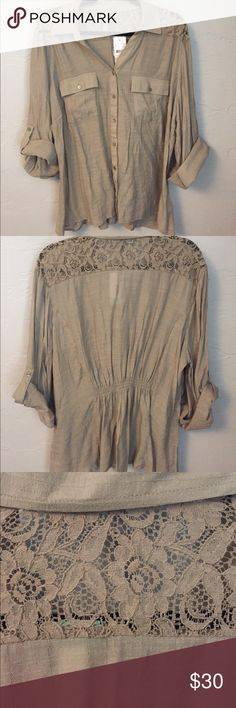 Stitch Fix Leftover! Very beautiful Sandre Lace Detail Top. Very comfortable and the elastic detail in the back gives it the perfect shape. Beautiful lace details around the collar. Color is a tan-ish/ olive. By Design Tops