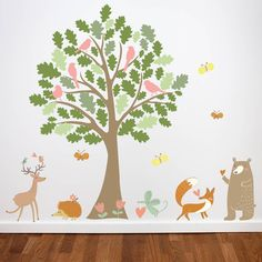 Oak Tree And Animals Wall Stickers