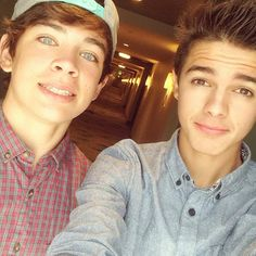 Hayes Grier and Brent Rivera I love them so much! People who go to school with them are so lucky!