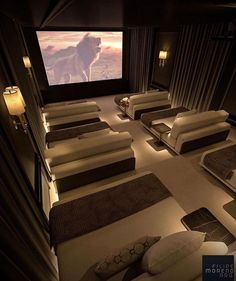 Home Theater Room Design, Home Cinema Room, Home Theater Decor, At Home Movie Theater, Home Theater Rooms, Home Room Design, Dream Home Design, Modern House Design, Home Theatre