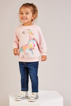 Add to her everyday wardrobe, girls' sweat tops. Next day delivery & free returns available. Cute Kids, Cute Babies, Girl Sweat, Cute Baby Wallpaper, Scarlett Rose, Girl Outfits, Cute Outfits, Kids Fashion, Sweatshirts