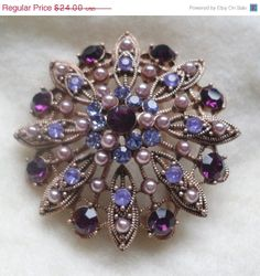 SALE Vintage LIZ CLAIBORNE Purple and Lavender Rhinestone Faux Pearl Domed Antiqued Gold Filigree Brooch Pin Jewelry Gift on Etsy, Sold