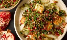 Yotam Ottolenghi's warm halloumi and chicory with pomegranate and walnut recipe