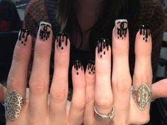 Drip nail art chanel black & white nails #nails #manicure #nailpolish #Chanel