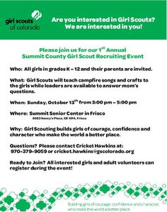 Girl Scouts Recruiting Event in Summit County, Colorado October 13th, 2013 at the Community & Senior Center in Frisco- BreckMoms.com / SummitCountyMoms.org