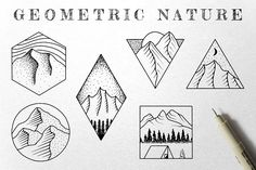 Call of mountains   Pre-Designed Illustrator Graphics ~ Creative Market Ink Illustrations, Graphic Illustration, Half Sleeve Tattoos Traditional, Art Design, Design Elements, Graphic Design, Hiking Tattoo, Nature Symbols, New Tattoo Designs