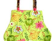 Lime Green and Pink Floral Fat Bottom Bag Part of a TAGT team Etsy treasury, click to see more.