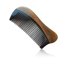 Olina 100% Handmade Premium Quality Natural Green Sandal Wood Comb Pocket Comb with Natural Wood Aromatic Smell (Narrow-tooth, Black Ox Horn & Green Sandal Wood - Whale, 4.7'') by Olina -- Awesome products selected by Anna Churchill