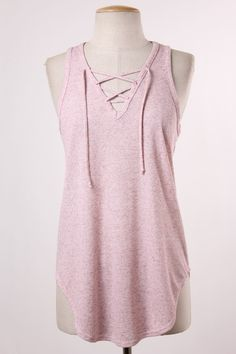 Dusty Pink Lace Up Tank - Longhorn Fashions