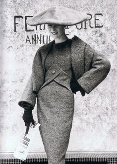 Bleu de Perse'. Autumn/Winter 1955-56. 'Y Line'. Dress and paletot in Persian blue tweed. Photo by Regina Relang.