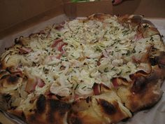 Great Lake's Smoked bacon, cipollini onion, homemade creme fraiche, chive pizza. by TriphenaW, via Flickr