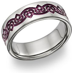 applesofgold.com - Purple Celtic Heart Love Knot Wedding Band Ring....possible ring tattoo