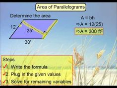 This lesson derives the area formula for parallelograms from rectangles. Examples calculating area are also discussed. Math Teacher, Teaching Math, Teacher Stuff, Maths, Teaching Ideas, Area Formula, Dimensional Shapes, 7th Grade Math, Math Notebooks