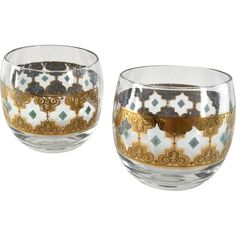 Mid Century Culver Glass Seville 22K Gold Scrolls and Blue Diamonds Roly Poly Tumblers - Set of Two