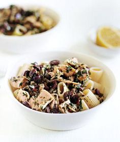 Pasta With Tuna and Black Olive Vinaigrette The briny sauce is studded with capers and olives.