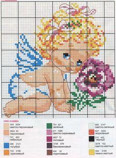 (1) Gallery.ru / Фото #6 - Ангелочки и феи - Los-ku-tik Baby Cross Stitch Patterns, Cross Stitch For Kids, Cute Cross Stitch, Cross Stitch Rose, Cross Stitch Alphabet, Cross Patterns, Stitch And Angel, Cross Stitch Angels, Cross Stitch Cards