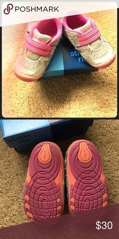 Stride rite start small medley silver 🌸 Worn one time then grew out of them so brand new.. comes w box🌺ready for your little walker Stride Rite Shoes Baby & Walker