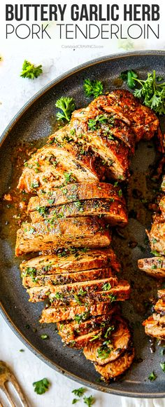 his Baked Pork Tenderloin is the BEST Ive ever had! Its outrageously juicy burst. his Baked Pork Tenderloin is the BEST Ive ever had! Its outrageously juicy bursting with herb garlic butter flavor a Easy Dinner Recipes, Easy Meals, Breakfast Recipes, Kitchen Recipes, Cooking Recipes, Healthy Recipes, Carlsbad Cravings, Baked Pork, Baked Garlic