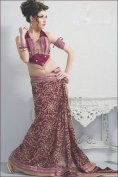 Designer Party Saree; Cordovan Brown Net Wedding and Festival Embroidered Saree