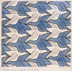 Artist: Escher  Title: Two Birds Medium: drawing He uses pattern by creating a tesalation. I like this because he makes it seem so easy to create and yet they are still so hard.