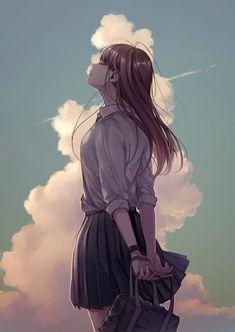 伊藤里(@_uriko_)さん / Twitter Sad Anime Girl, Pretty Anime Girl, Kawaii Anime Girl, Manga Girl, Anime Art Girl, Anime Girls, Sad Girl Art, Anime Scenery Wallpaper, Anime Artwork