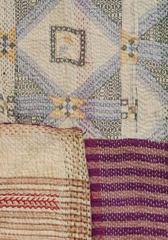 Lovely subtle colours acheived by contrasting threads. Sashiko Embroidery, Japanese Embroidery, Textiles, Kantha Quilt, Quilts, Boro Stitching, Yoko Saito, Kantha Stitch, Running Stitch