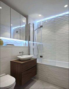 Exciting Tile Shower Corner Shelf with Floating Vanity Next to Wave Bathroom Tiles Alongside with Shower Tub Combo and Wave Tiles Bathroom Layout, Bathroom Colors, Bathroom Interior, Bathroom Ideas, Colorful Bathroom, Bathtub Ideas, Bathroom Photos, Budget Bathroom, Interior Doors